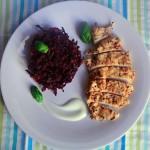 Buraczano-szpinakowe placuszki/pierś z kurczaka
