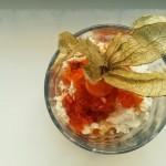 Lawendowy twarożek z miodowo-morelowym sosem